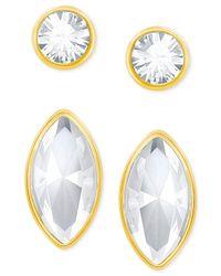 Swarovski - Metallic Gold-tone 2-pc. Set Crystal Stud Earrings - Lyst