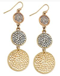 INC International Concepts - Metallic Gold-tone Pave Disc Linear Drop Earrings - Lyst