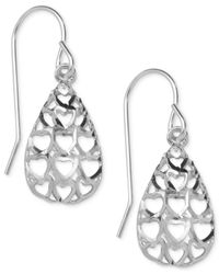 Macy's | Metallic Heart Cutout Teardrop Drop Earrings In 10k White Gold | Lyst