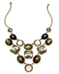 INC International Concepts - Metallic Gold-tone Multistone Bib Necklace - Lyst