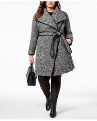 ac9ab4954ab5a Women s Black Plus Size Faux-leather-trim Wrap Coat ...