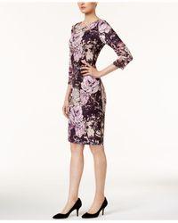 Eci - Pink 3/4-sleeve Sheath Dress - Lyst
