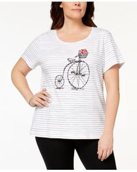 Karen Scott - White Plus Size Cotton Embellished Graphic T-shirt, Created For Macy's - Lyst