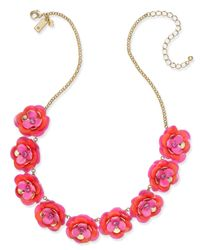 Kate Spade - Gold-tone Pink Crystal Accent Flower Statement Necklace - Lyst