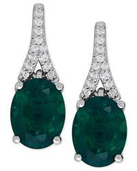 Macy's - Metallic Lab-created Emerald (3-1/5 Ct. T.w.) And White Sapphire (1/8 Ct. T.w.) Drop Earrings In Sterling Silver - Lyst