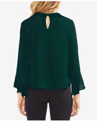 Vince Camuto - Green Flutter Cuff Hammered Satin Blouse - Lyst