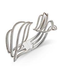 Danori - Metallic Silver-tone Pavé Wave Hinged Bangle Bracelet - Lyst