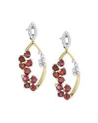 Macy's - Red Ruby (1-1/2 Ct. T.w.) And Diamond (1/10 Ct. T.w.) Scatter Drop Earrings In 14k Gold - Lyst