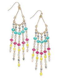 INC International Concepts   Metallic Gold-tone Multicolor Beaded Fringe Earrings   Lyst