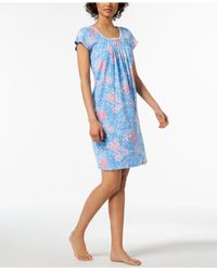Miss Elaine - Blue Rose-print Picot-trim Nightgown - Lyst