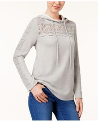 Style & Co.   Gray Crocheted Hoodie   Lyst