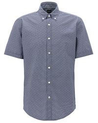 BOSS Blue Striped Cotton Sport Shirt, Regular Fit | Lodi for men