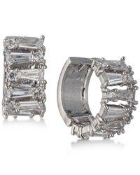 Carolee - Metallic Silver-tone Crystal Huggie Hoop Earrings - Lyst