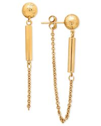 Macy's - Metallic Textured Ball Stud And Dangle Chain Drop Earrings In 14k Gold - Lyst
