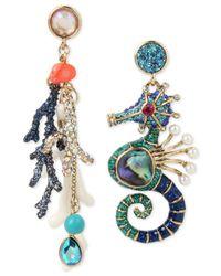 Betsey Johnson | Multicolor Gold-tone Multi-stone Ocean Motif Mismatch Drop Earrings | Lyst