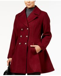 Laundry by Shelli Segal - Red Plus Size Skirted Wool-blend Peacoat - Lyst
