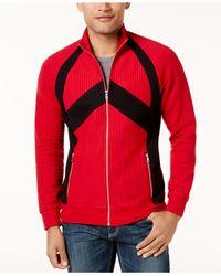 INC International Concepts - Red Men's Pieced Zip-front Jacket for Men - Lyst