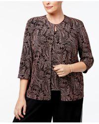 Alex Evenings - Black Plus Size Metallic Paisley-print Jacket & Shell - Lyst