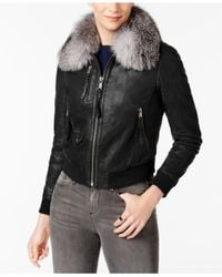 Andrew Marc - Black Fox-fur Collar Leather Moto Jacket - Lyst