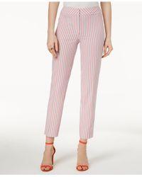 Nine West - Pink Seersucker Skinny Pants - Lyst