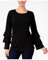 Style & Co. - Black Petite Ruffle-sleeve Sweater - Lyst