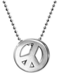 Alex Woo - Metallic Little Faith Peace Sign Pendant Necklace In Sterling Silver - Lyst