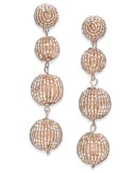 INC International Concepts - Metallic Rose Gold-tone Beaded Orb Linear Drop Earrings - Lyst