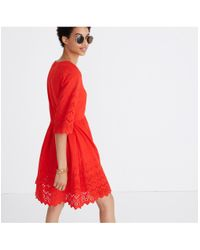 Madewell - Red Eyelet Lattice Dress - Lyst