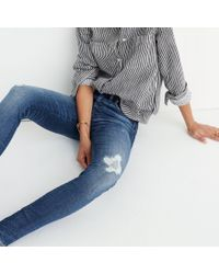 "Madewell - Blue Taller 9"" High-rise Skinny Jeans In Allegra Wash: Rip And Repair Edition - Lyst"