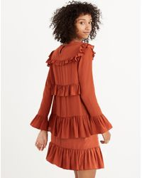 Madewell - Red Silk Waterlily Ruffle Dress - Lyst