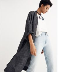 Madewell - Black Long Robe Jacket In Grid Pattern - Lyst