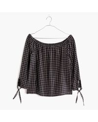 Madewell   Black Plaid Off-the-shoulder Top   Lyst