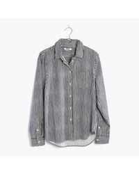 Madewell   Gray Flannel Shrunken Ex-boyfriend Shirt In Stripe   Lyst