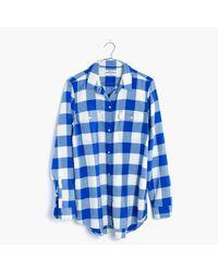 Madewell | Blue Flannel Classic Ex-boyfriend Shirt In Buffalo Check | Lyst
