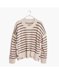 Madewell | Multicolor Brownstone Side-button Sweater In Stripe | Lyst