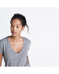 Madewell - Gray Whisper Cotton V-neck Pocket Tee - Lyst