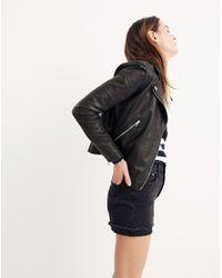 Madewell - Black Washed Leather Moto Jacket - Lyst