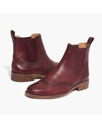 Madewell | Red The Ivan Brogue Chelsea Boot In Dark Cabernet | Lyst