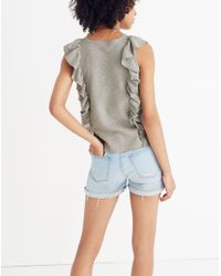 Madewell - Gray Ruffled Sweater Tank - Lyst