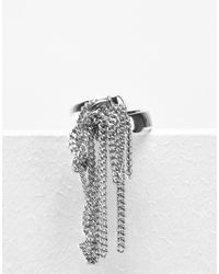MM6 by Maison Martin Margiela | Metallic Fringe Chain Ring | Lyst