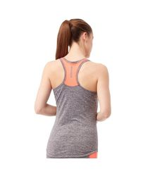 ELLE Sport - Gray Ruched Marl Performance Support Vest Coal Marl/coral Reef - Lyst