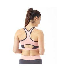 ELLE Sport - Multicolor Open Back Performance Sports Bra Top Smoke/tan - Lyst