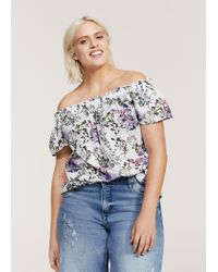 Violeta by Mango - Green Openwork Off-shoulder Blouse - Lyst