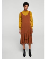Mango - Orange Ruffled Midi Dress - Lyst