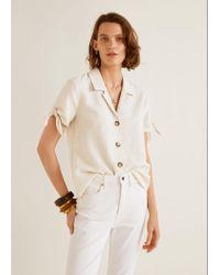Mango - Natural Knots Linen Shirt - Lyst