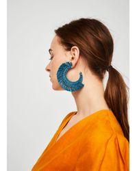 Mango - Blue Embossed Hoop Earrings - Lyst