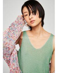 Mango - Green Fine Knit Top - Lyst