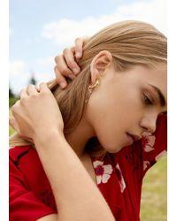 Mango - Metallic Bead Loop Earrings - Lyst