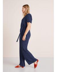 49d18422903d Violeta by Mango Long Printed Jumpsuit in Blue - Lyst