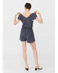 Mango - Blue Floral Short Jumpsuit - Lyst